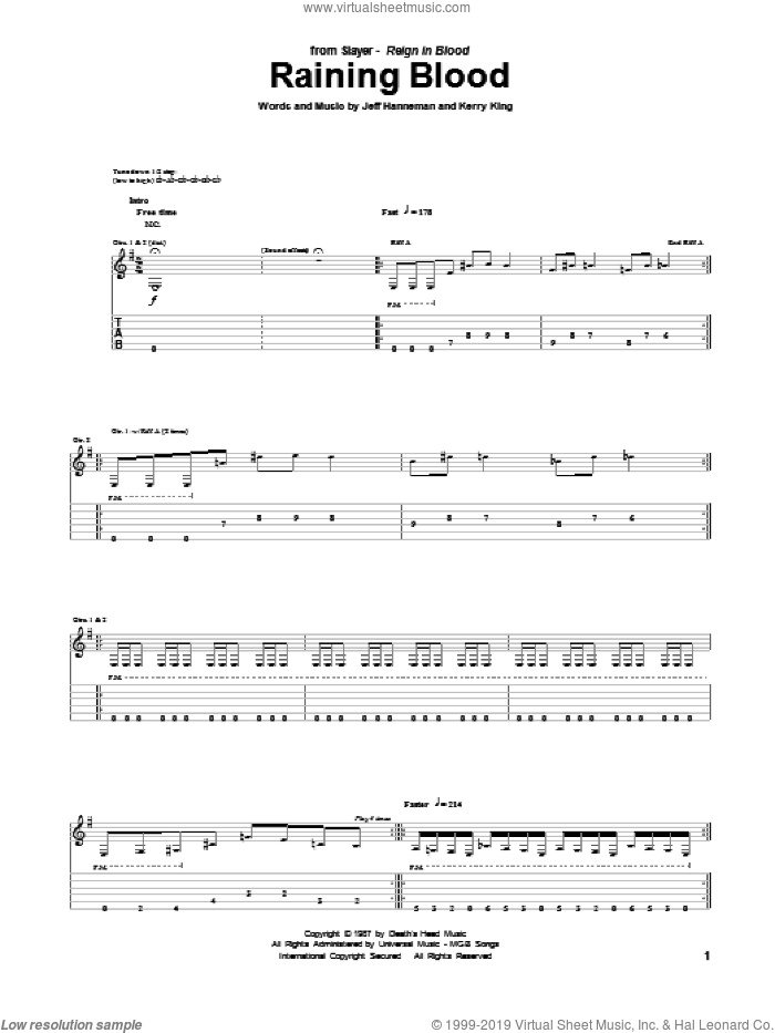 Raining Blood sheet music for guitar (tablature) by Kerry King, Jeff Hanneman and Slayer