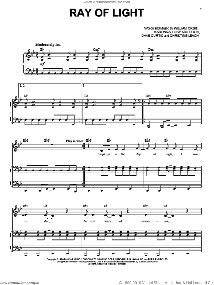 Ray Of Light sheet music for voice and piano by Madonna, intermediate. Score Image Preview.