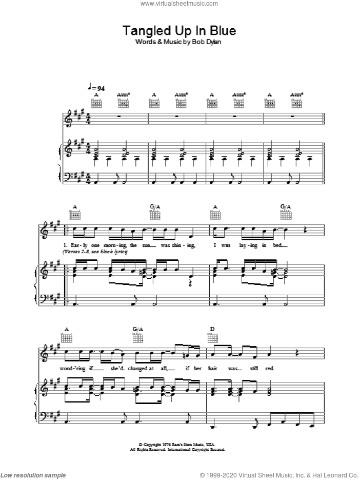 Tangled Up In Blue sheet music for voice, piano or guitar by Bob Dylan. Score Image Preview.