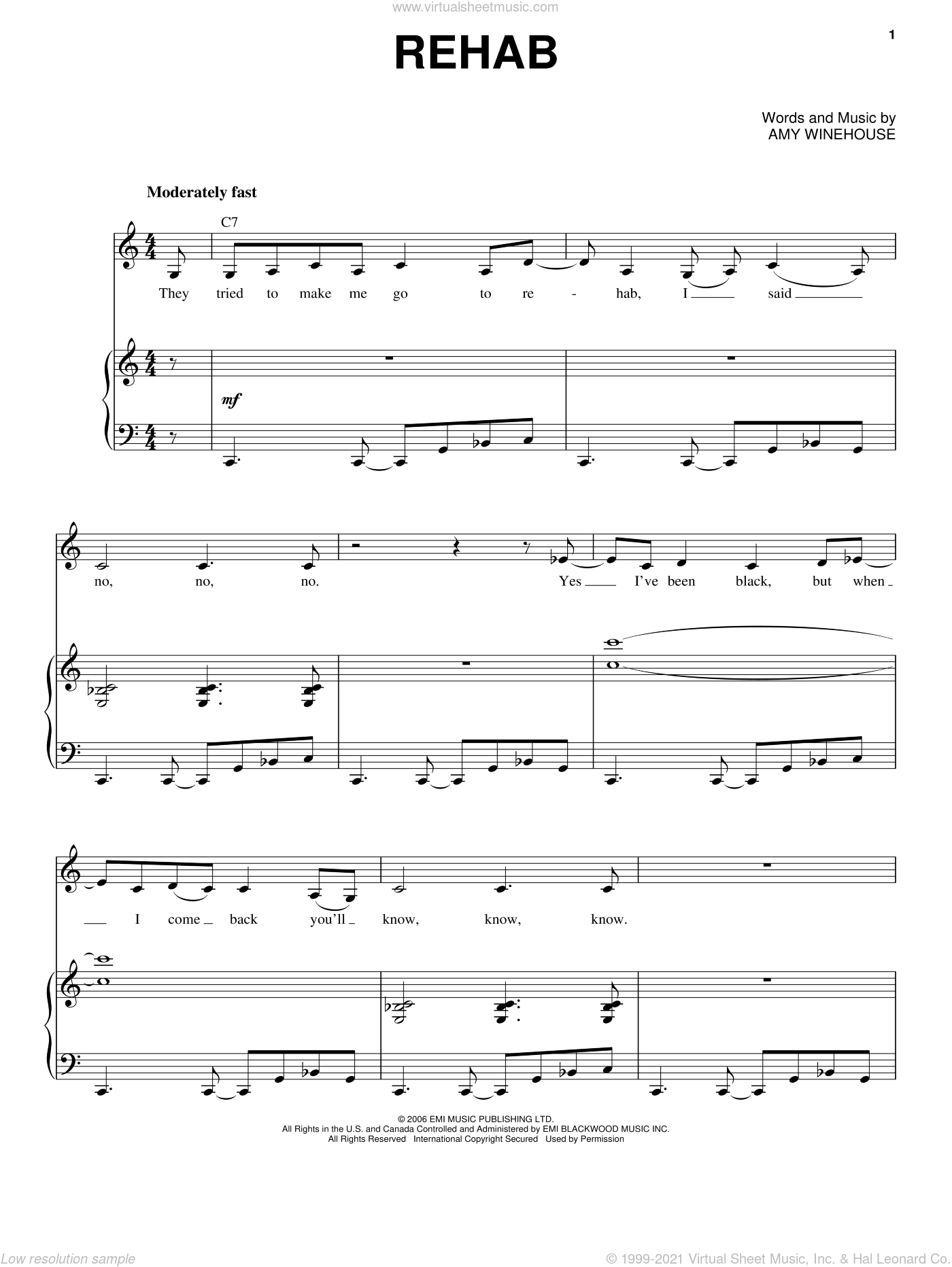 Rehab sheet music for voice and piano by Amy Winehouse, intermediate skill level