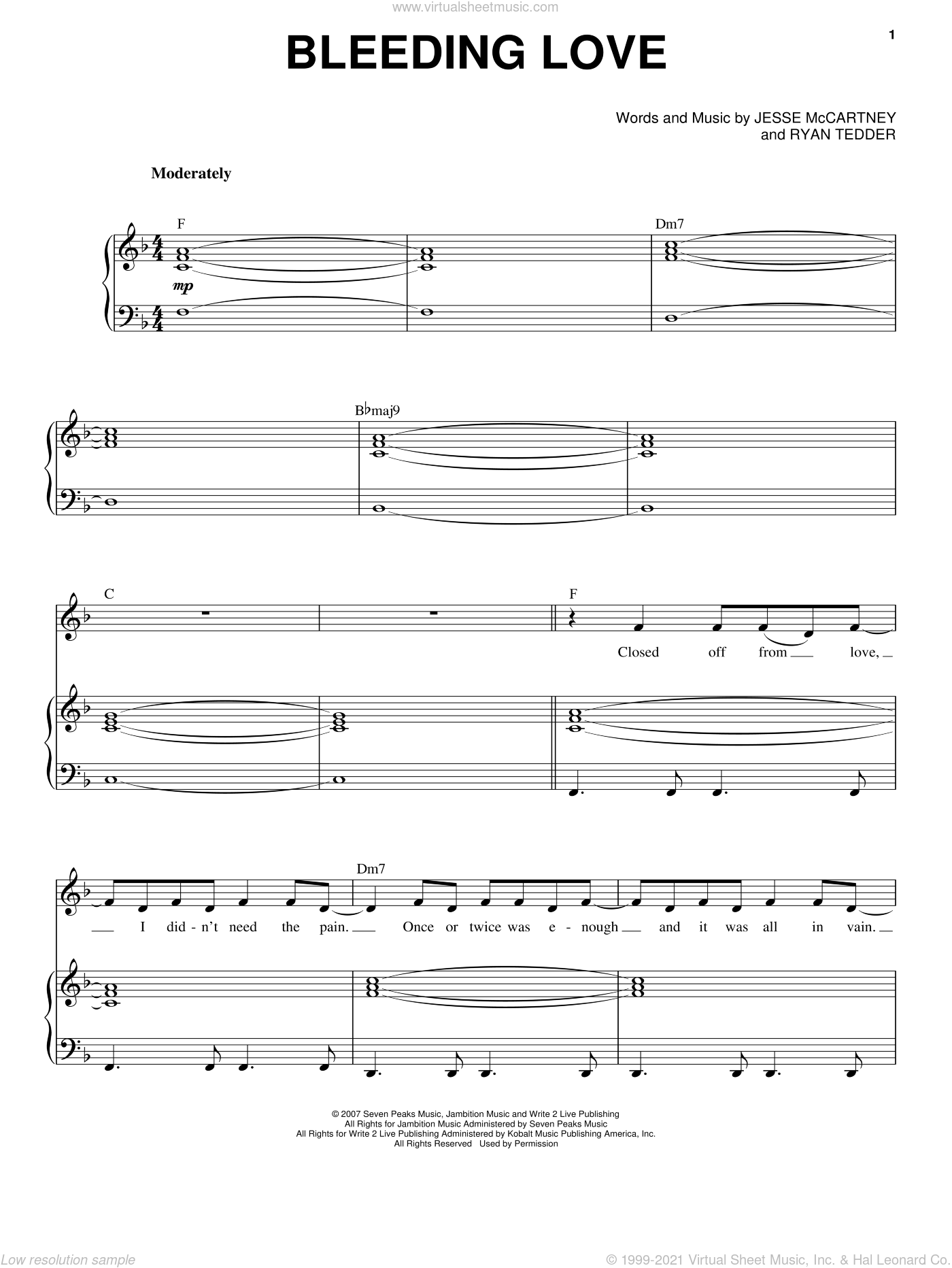 Bleeding Love sheet music for voice and piano by Ryan Tedder, Jesse McCartney and Leona Lewis. Score Image Preview.