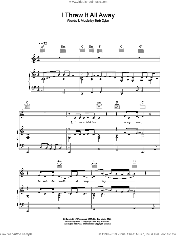 I Threw It All Away sheet music for voice, piano or guitar by Bob Dylan. Score Image Preview.