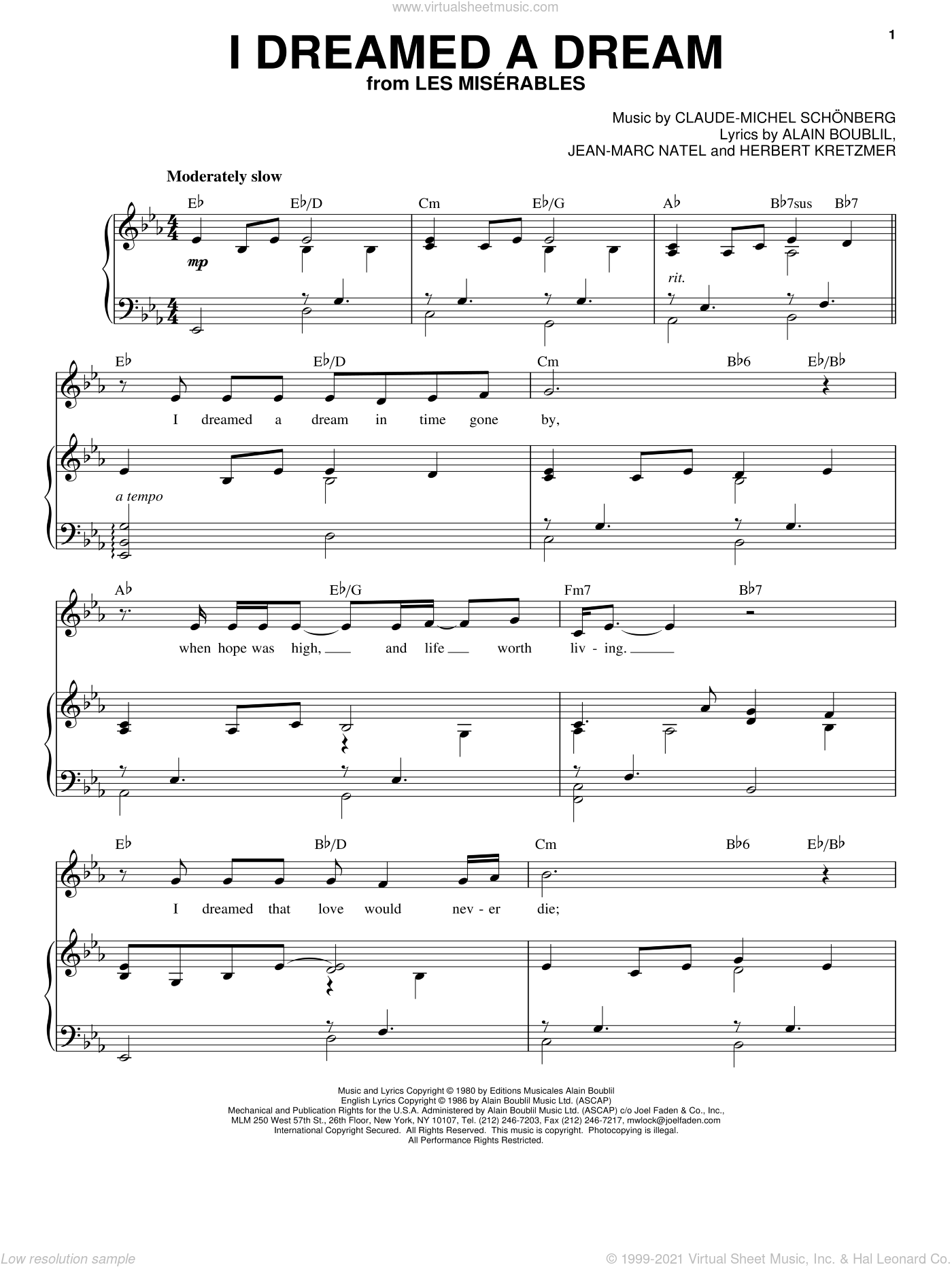 I Dreamed A Dream sheet music for voice and piano by Susan Boyle, Alain Boublil, Claude-Michel Schonberg, Herbert Kretzmer and Les Miserables (Musical), intermediate voice. Score Image Preview.