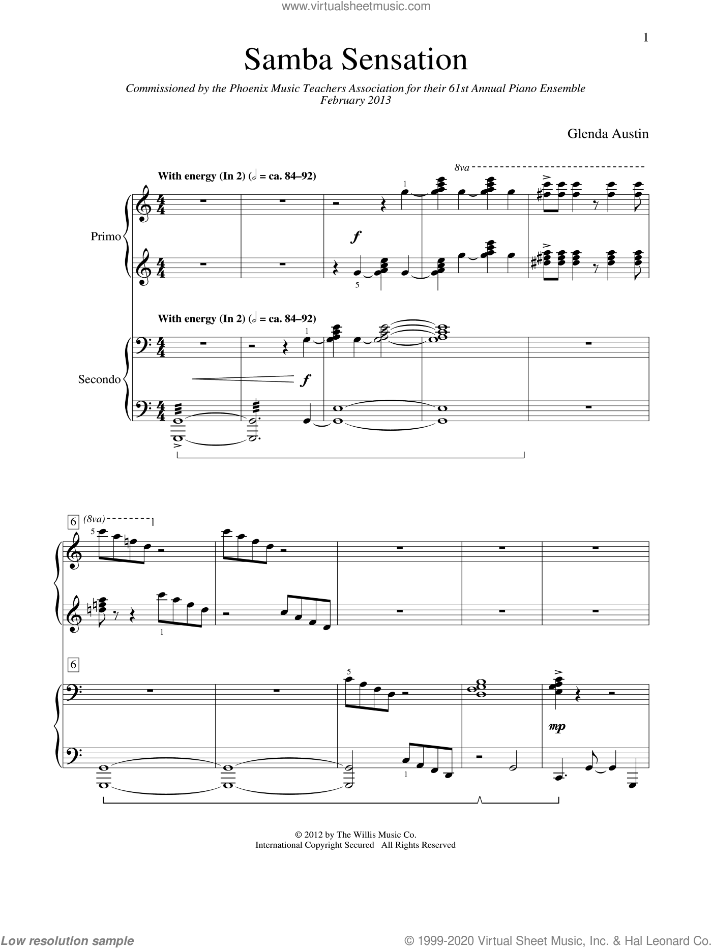 Samba Sensation sheet music for piano four hands (duets) by Glenda Austin. Score Image Preview.