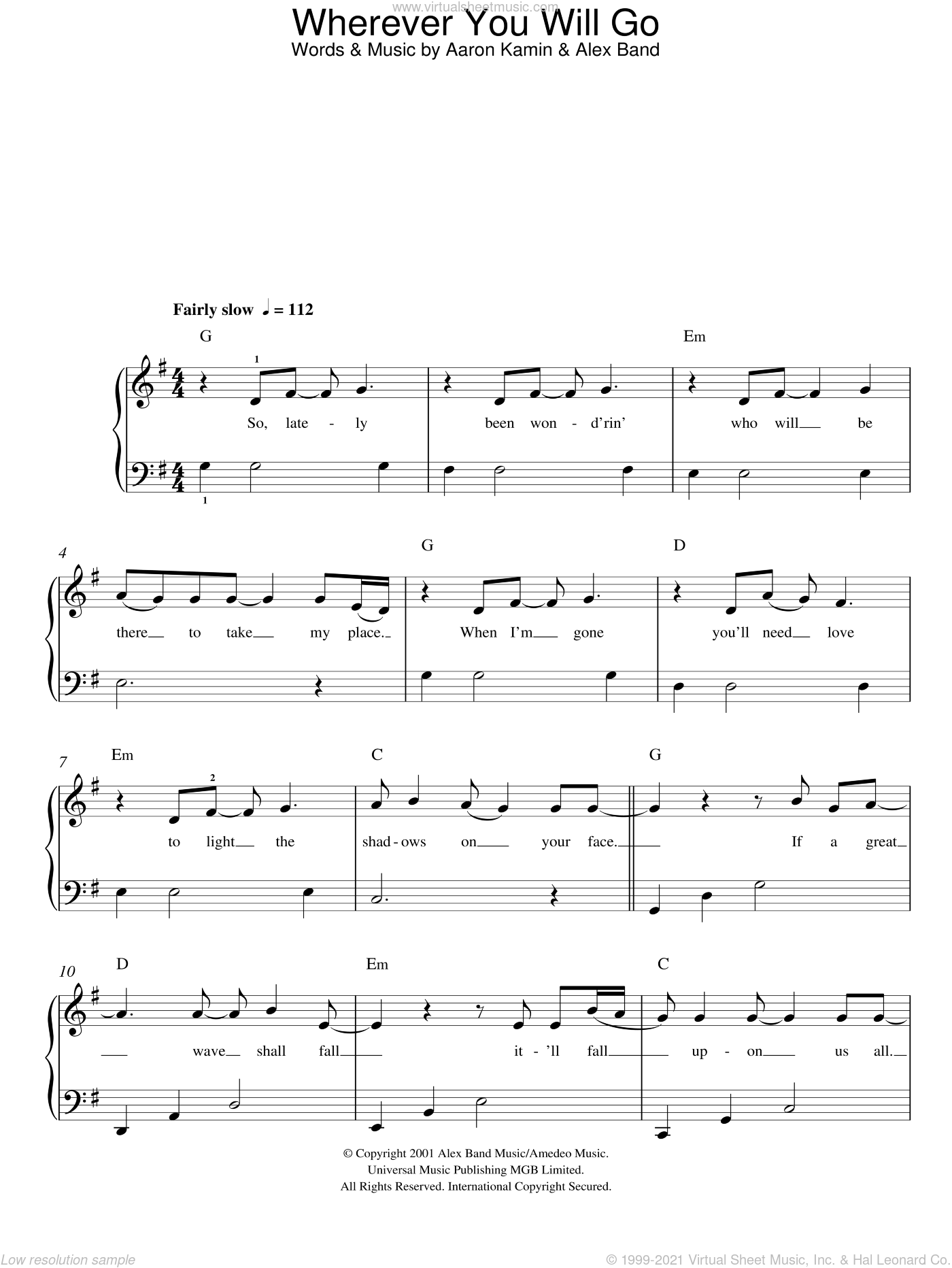 Wherever You Will Go sheet music for piano solo by Charlene Soraia and The Calling, easy