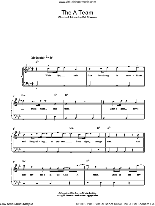 The A Team sheet music for piano solo (chords) by Ed Sheeran