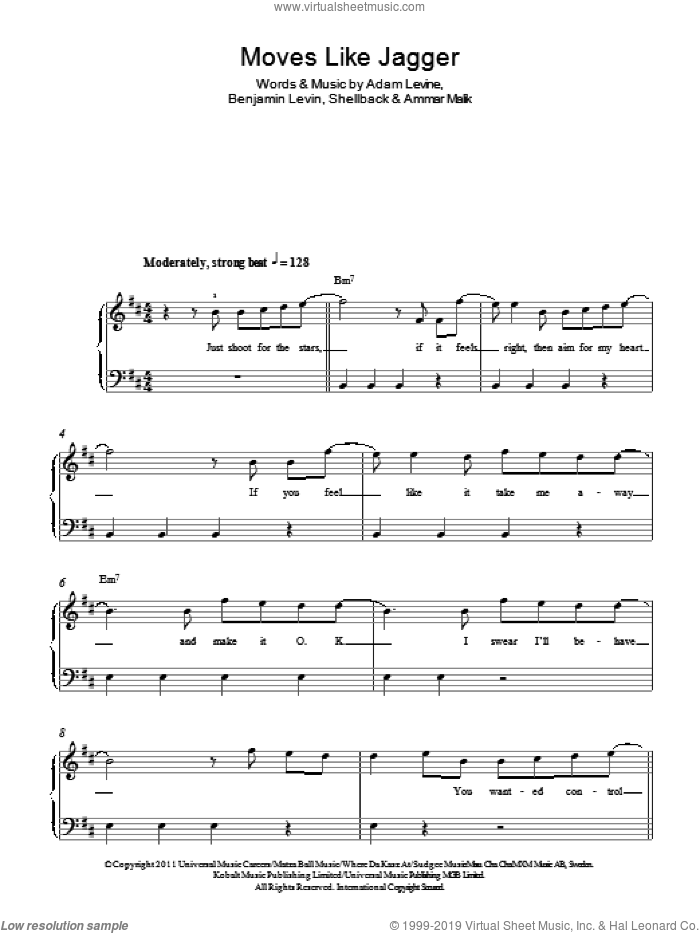 Moves Like Jagger sheet music for piano solo by Shellback, Maroon 5, Adam Levine, Ammar Malik and Benjamin Levin. Score Image Preview.