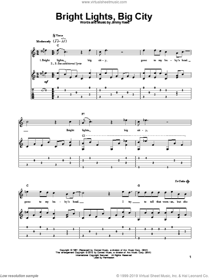 Bright Lights, Big City sheet music for guitar solo by Jimmy Reed and Sonny James, intermediate skill level