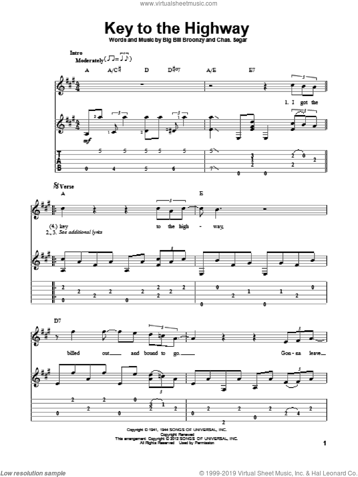 Key To The Highway sheet music for guitar solo by Big Bill Broonzy, Charles Segar and Eric Clapton, intermediate skill level