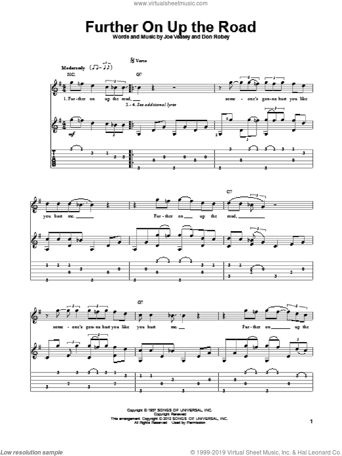 Further On Up The Road sheet music for guitar solo by Joe Veasey, Don Robey and Eric Clapton. Score Image Preview.