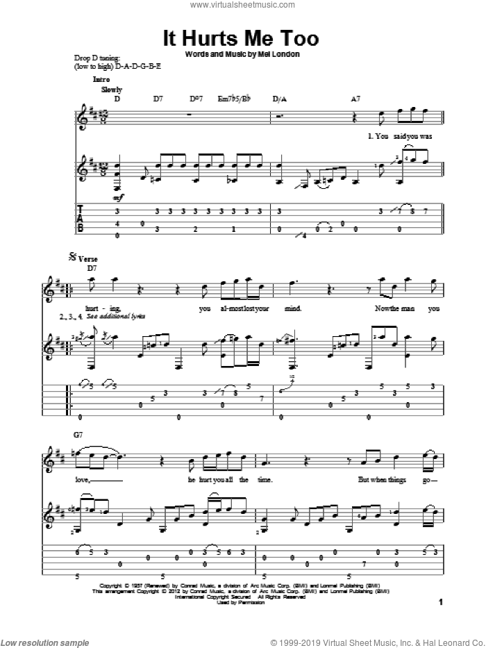 It Hurts Me Too sheet music for guitar solo by Elmore James, Eric Clapton and Mel London. Score Image Preview.