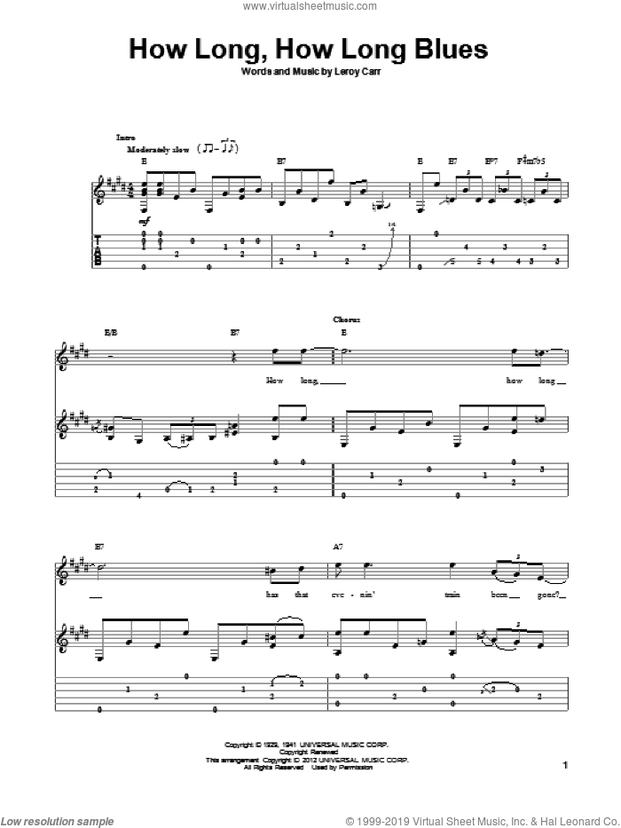 How Long, How Long Blues sheet music for guitar solo by Leroy Carr. Score Image Preview.