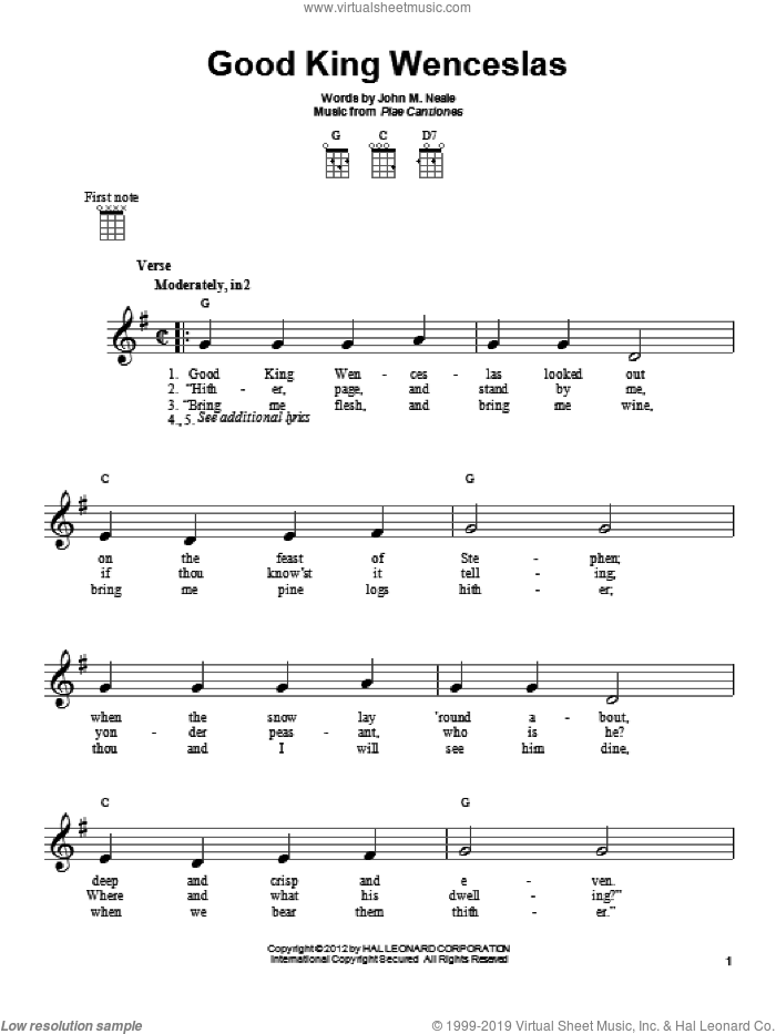 Good King Wenceslas sheet music for ukulele by Piae Cantiones and John Mason Neale, intermediate skill level