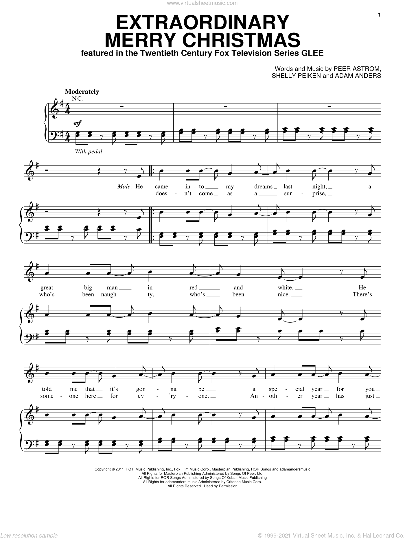 Extraordinary Merry Christmas sheet music for voice, piano or guitar by Glee Cast, Adam Anders, Peer Astrom and Shelly Peiken, intermediate skill level