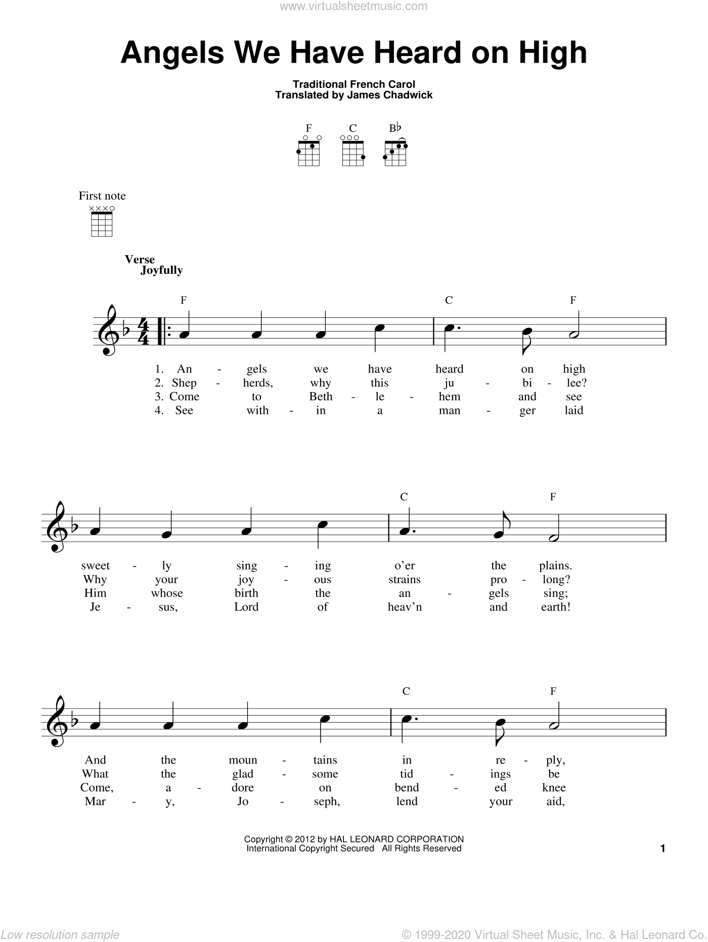 Angels We Have Heard On High sheet music for ukulele  and James Chadwick, intermediate skill level