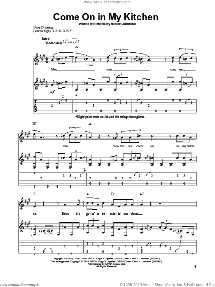 Come On In My Kitchen sheet music for guitar solo by Robert Johnson. Score Image Preview.