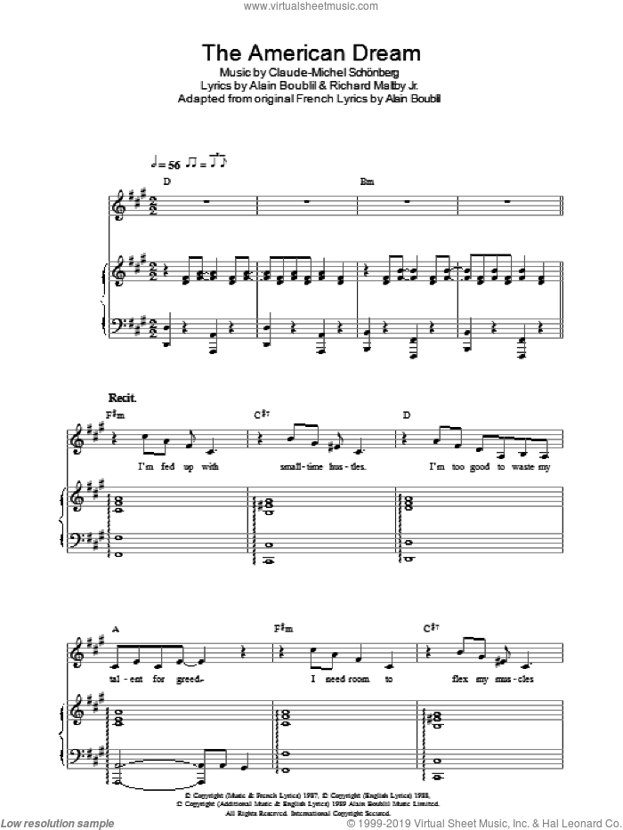 The American Dream sheet music for voice, piano or guitar by Richard Maltby, Jr., Alain Boublil and Claude-Michel Schonberg. Score Image Preview.
