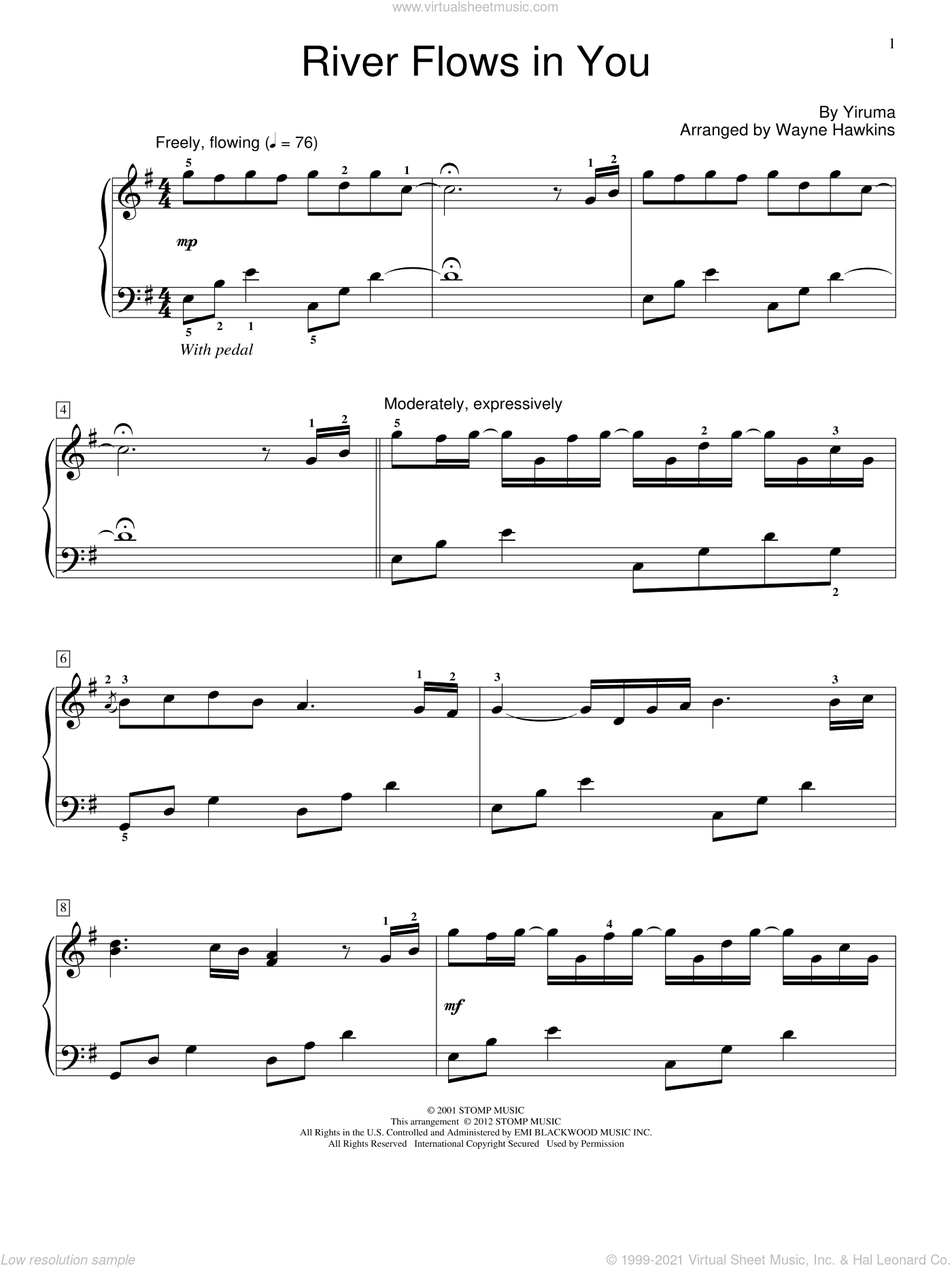River Flows In You, (beginner) sheet music for piano solo (elementary) by Yiruma, Miscellaneous and Wayne Hawkins, beginner piano (elementary). Score Image Preview.
