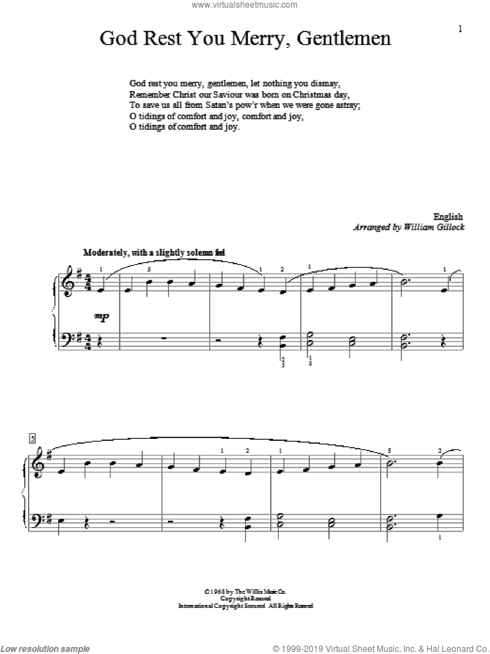 God Rest You Merry, Gentlemen sheet music for piano solo (elementary) by William Gillock. Score Image Preview.