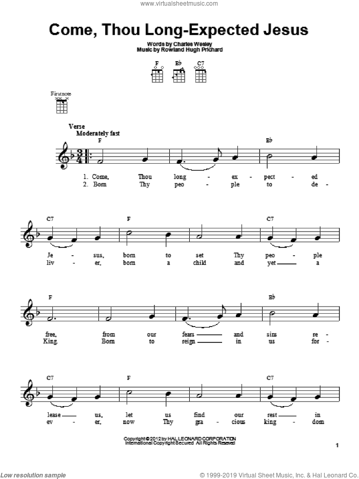 Come, Thou Long-Expected Jesus sheet music for ukulele by Rowland Prichard and Charles Wesley. Score Image Preview.