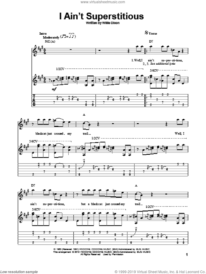 I Ain't Superstitious sheet music for guitar solo by Willie Dixon. Score Image Preview.