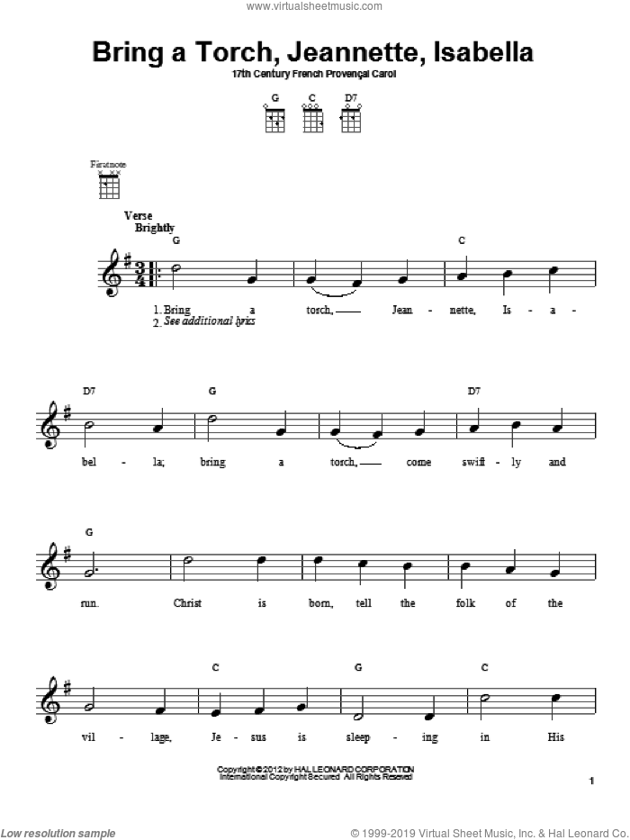 Bring A Torch, Jeannette, Isabella sheet music for ukulele by Anonymous