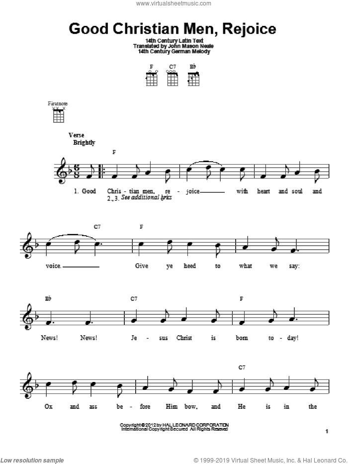 Good Christian Men, Rejoice sheet music for ukulele by John Mason Neale, 14th Century German Melody and Miscellaneous, intermediate skill level