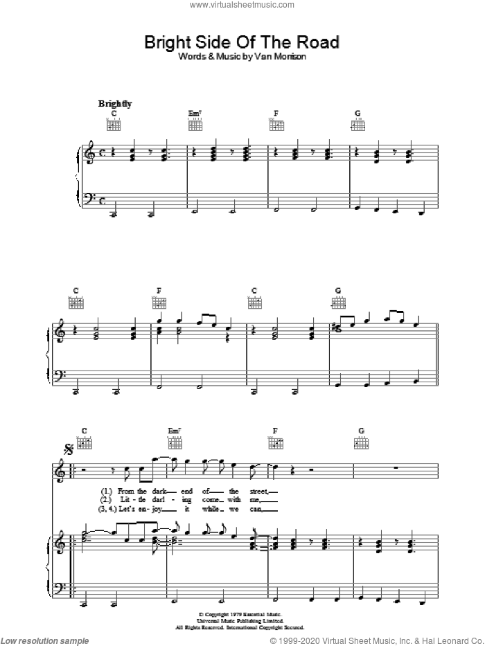 Bright Side Of The Road sheet music for voice, piano or guitar by Van Morrison. Score Image Preview.