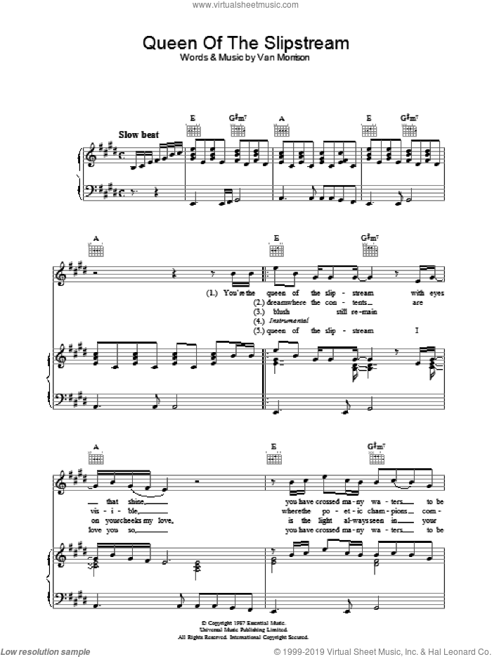 Queen Of The Slipstream sheet music for voice, piano or guitar by Van Morrison. Score Image Preview.