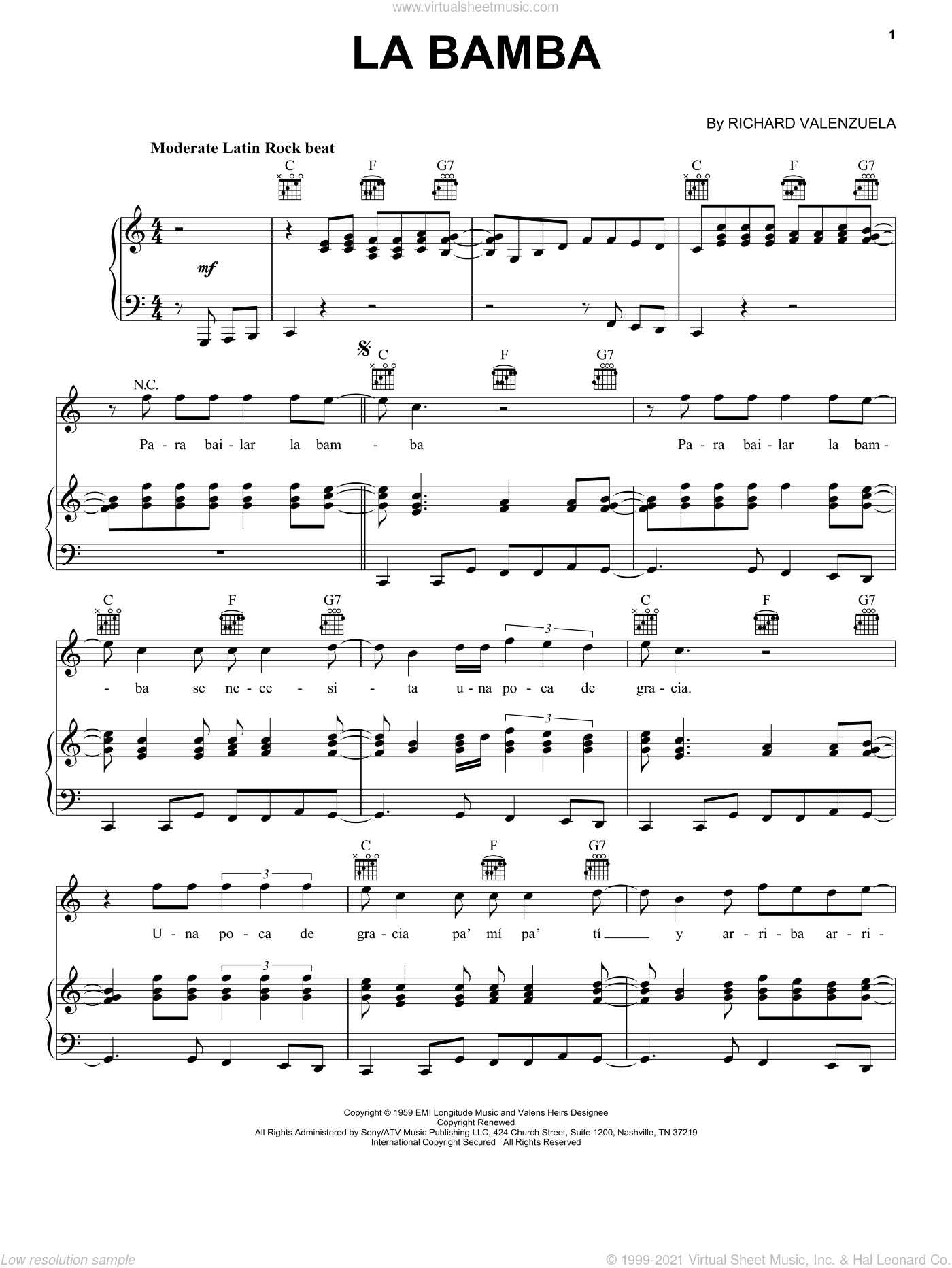 La Bamba sheet music for voice, piano or guitar by Ritchie Valens and Los Lobos, intermediate skill level
