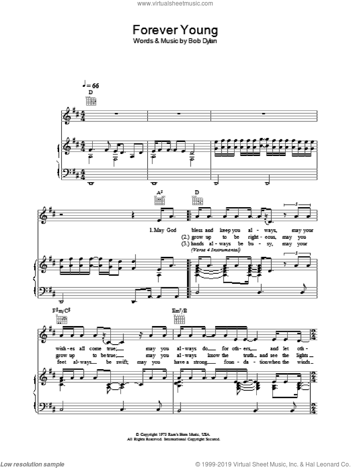 Forever Young sheet music for voice, piano or guitar by Bob Dylan, intermediate skill level