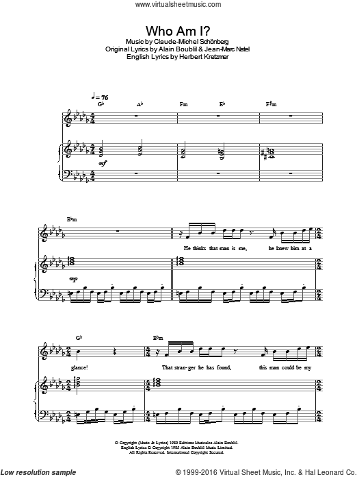 Who Am I? sheet music for voice, piano or guitar by Jean-Marc Natel, Alain Boublil, Claude-Michel Schonberg and Herbert Kretzmer. Score Image Preview.