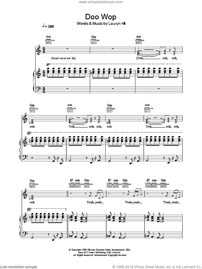 Doo Wop (That Thing) sheet music for voice, piano or guitar by Lauryn Hill, intermediate skill level