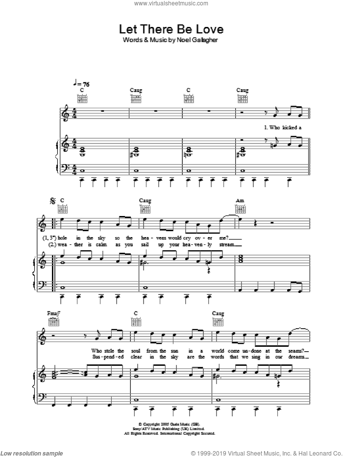 Let There Be Love sheet music for voice, piano or guitar by Noel Gallagher and Oasis. Score Image Preview.