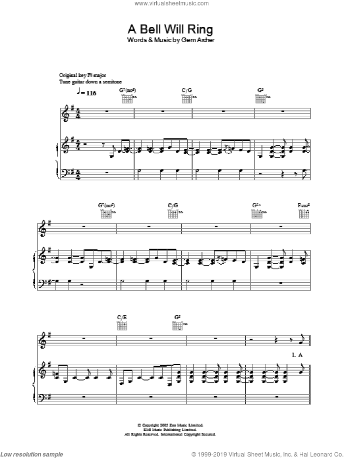 A Bell Will Ring sheet music for voice, piano or guitar by Gem Archer
