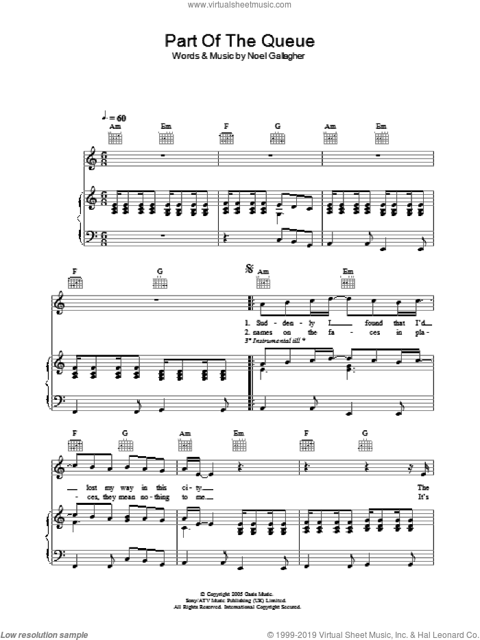 Part Of The Queue sheet music for voice, piano or guitar by Noel Gallagher and Oasis. Score Image Preview.