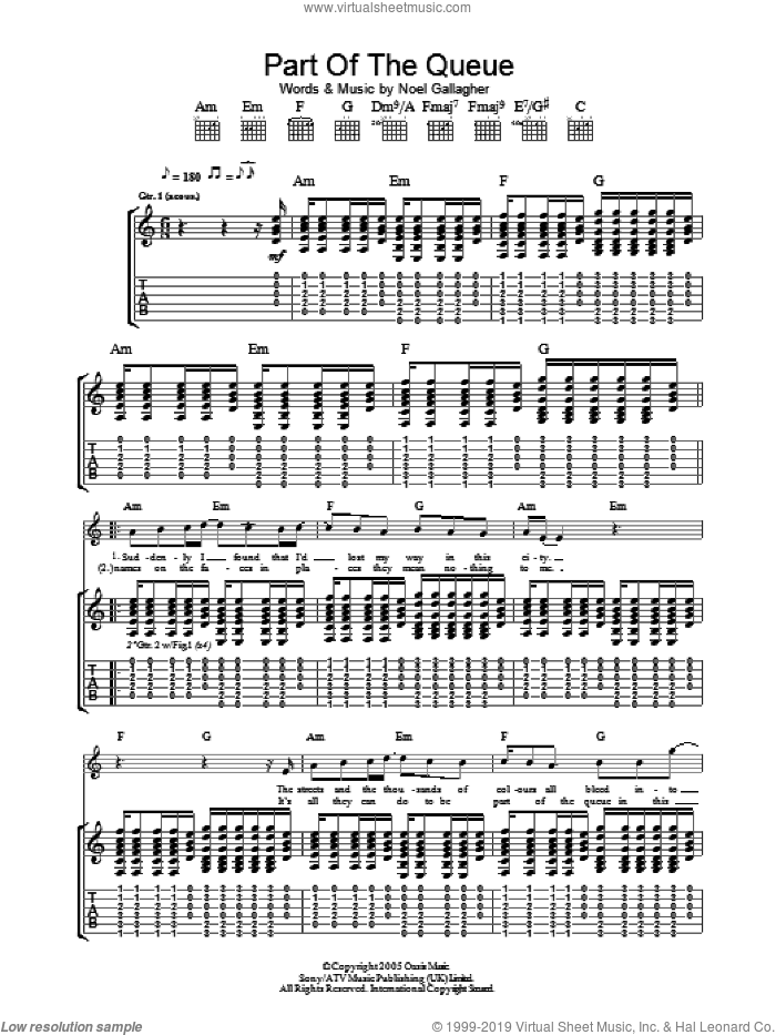 Part Of The Queue sheet music for guitar (tablature) by Noel Gallagher and Oasis. Score Image Preview.