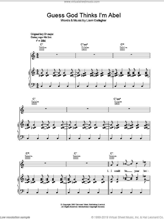 Guess God Thinks I'm Abel sheet music for voice, piano or guitar by Liam Gallagher