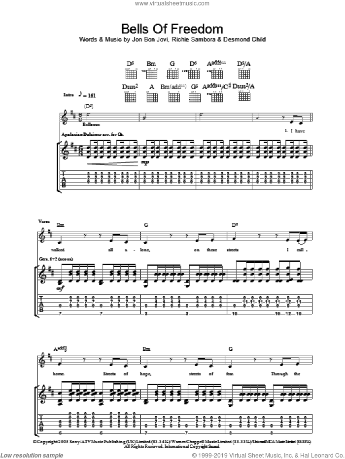 Bells Of Freedom sheet music for guitar (tablature) by Bon Jovi, Desmond Child and Richie Sambora, intermediate skill level