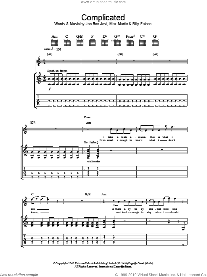 Complicated sheet music for guitar (tablature) by Bon Jovi, Billy Falcon and Max Martin, intermediate skill level