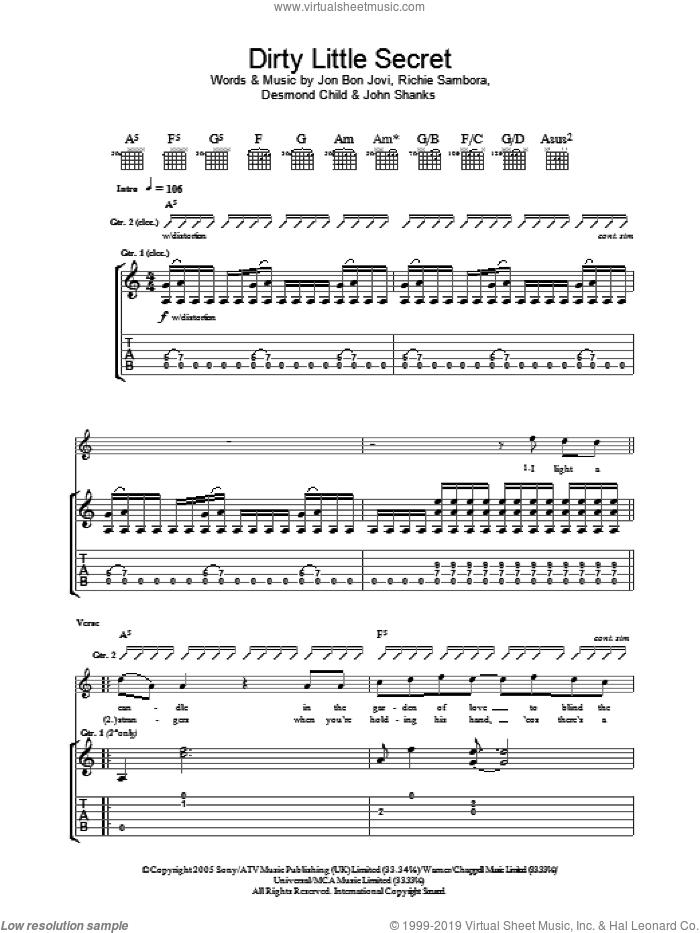 Dirty Little Secret sheet music for guitar (tablature) by Bon Jovi, Desmond Child, John Shanks and Richie Sambora, intermediate skill level