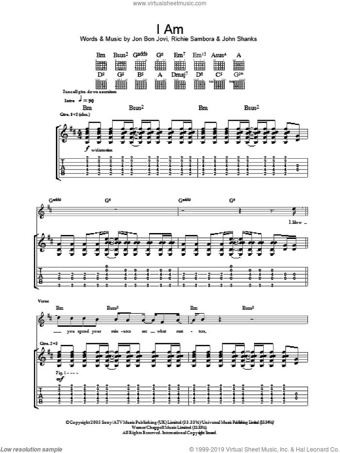 I Am sheet music for guitar (tablature) by Bon Jovi, John Shanks and Richie Sambora, intermediate skill level