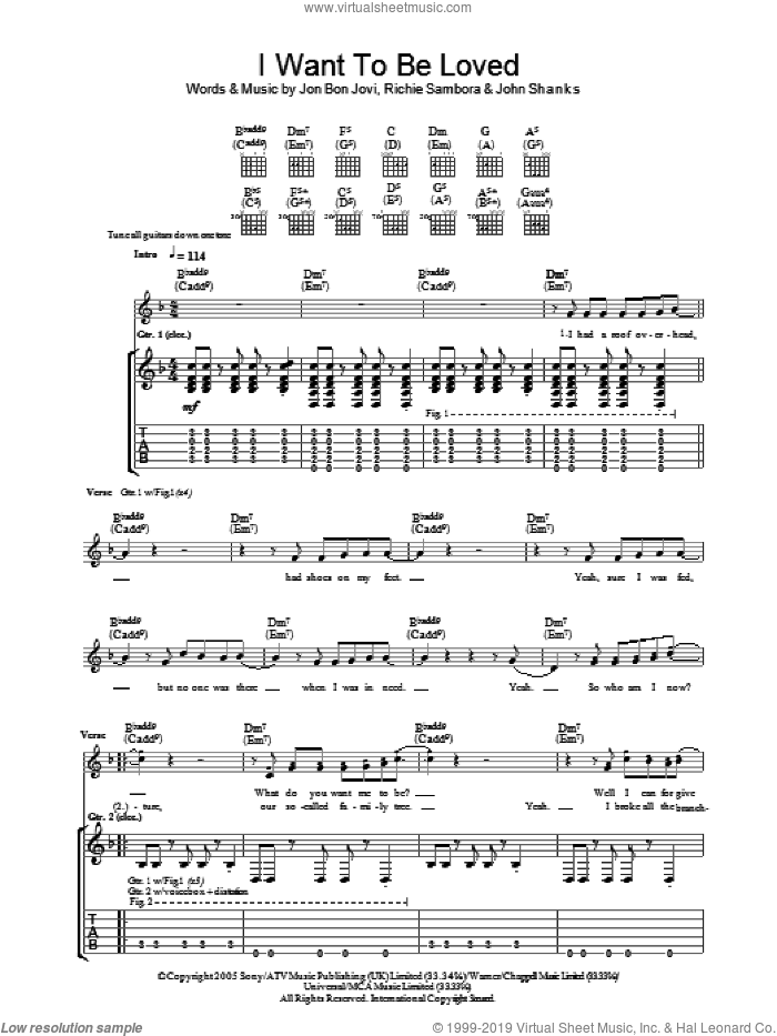 I Want To Be Loved sheet music for guitar (tablature) by Bon Jovi, John Shanks and Richie Sambora, intermediate skill level