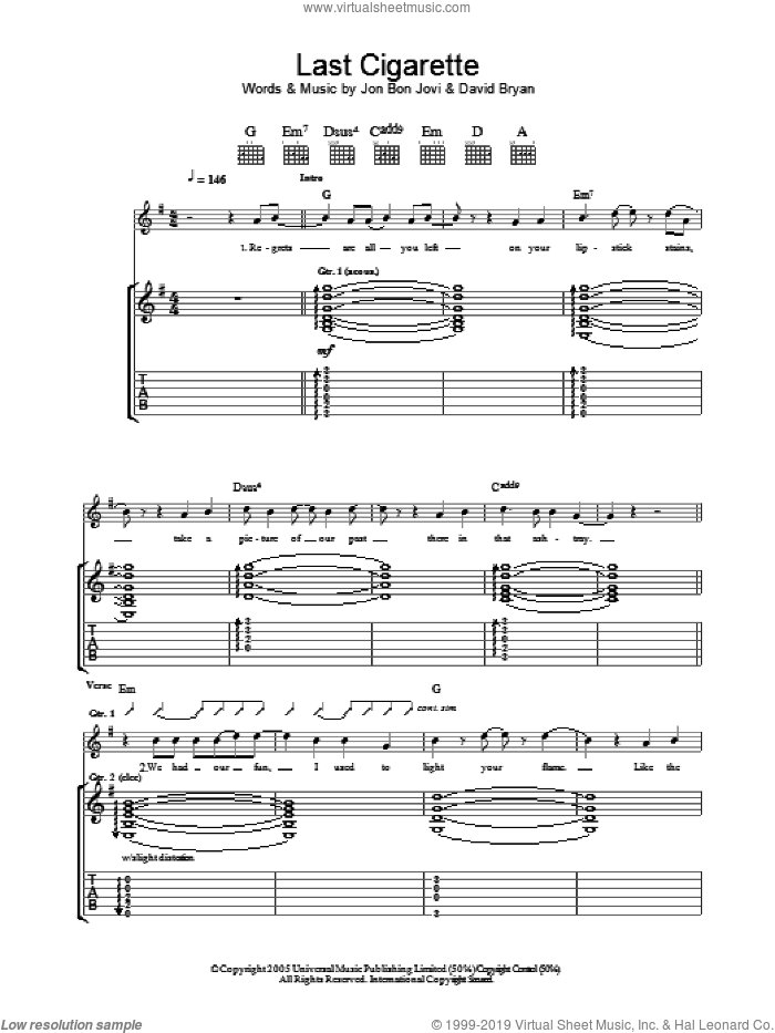 Last Cigarette sheet music for guitar (tablature) by Bon Jovi and David Bryan, intermediate guitar (tablature). Score Image Preview.