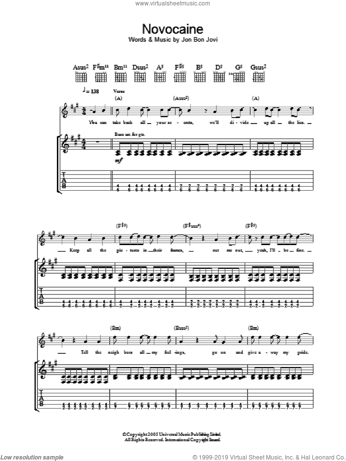 Novocaine sheet music for guitar (tablature) by Bon Jovi. Score Image Preview.