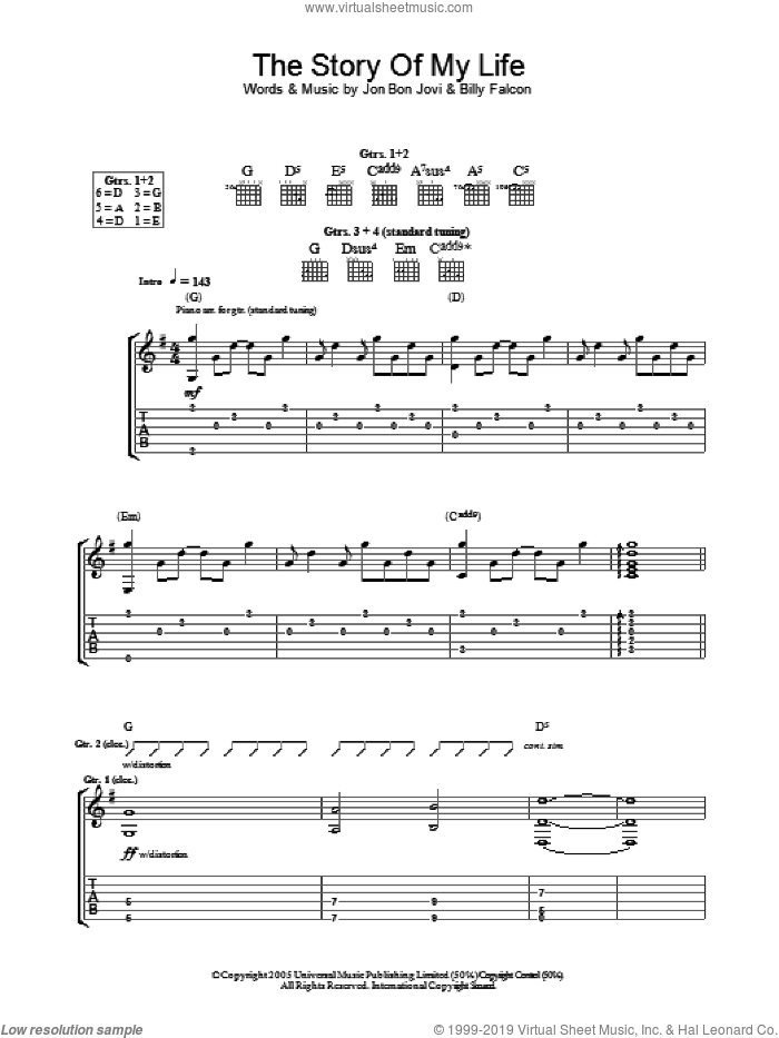 Story Of My Life sheet music for guitar (tablature) by Bon Jovi and Billy Falcon, intermediate skill level