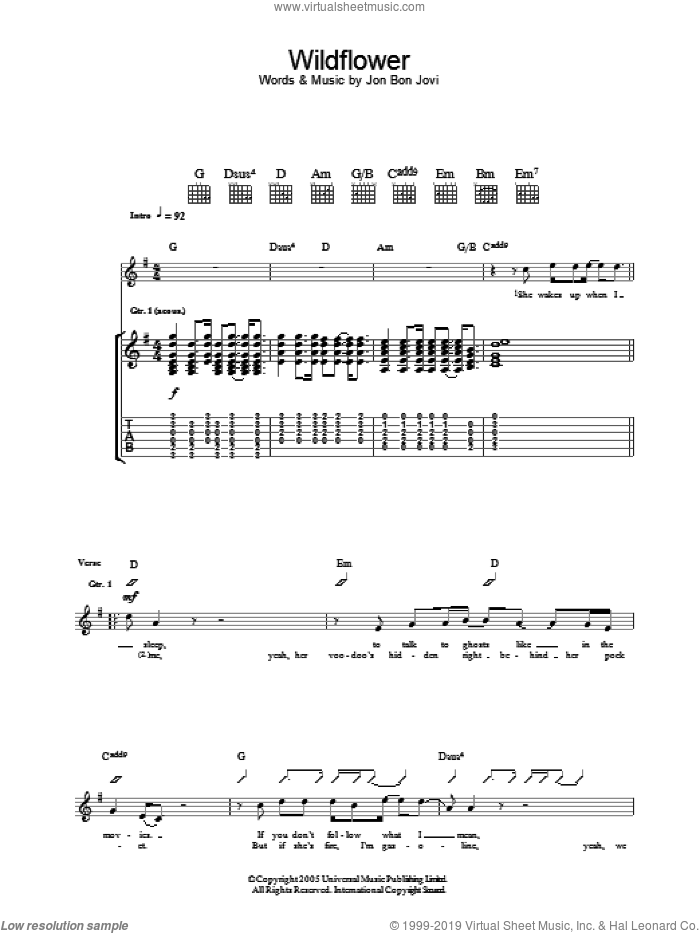 Wildflower sheet music for guitar (tablature) by Bon Jovi, intermediate skill level