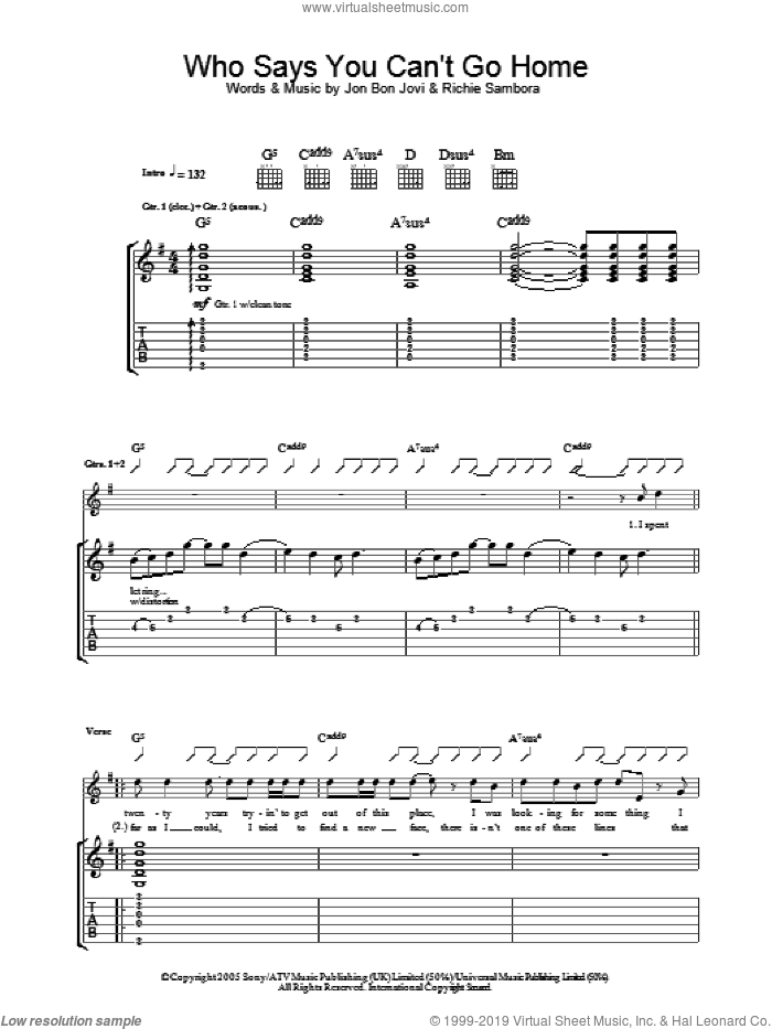 Who Says You Can't Go Home sheet music for guitar (tablature) by Richie Sambora and Bon Jovi. Score Image Preview.