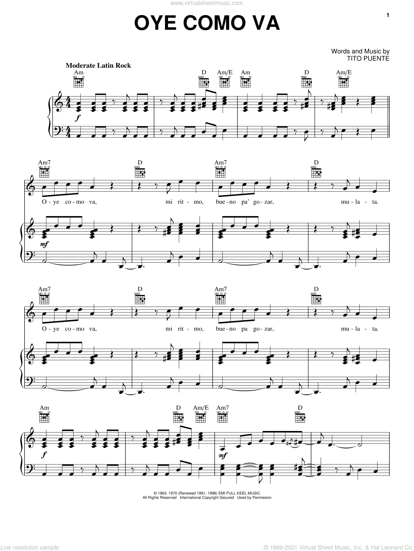 Oye Como Va sheet music for voice, piano or guitar by Tito Puente, Carlos Santana and Percy Faith, intermediate skill level