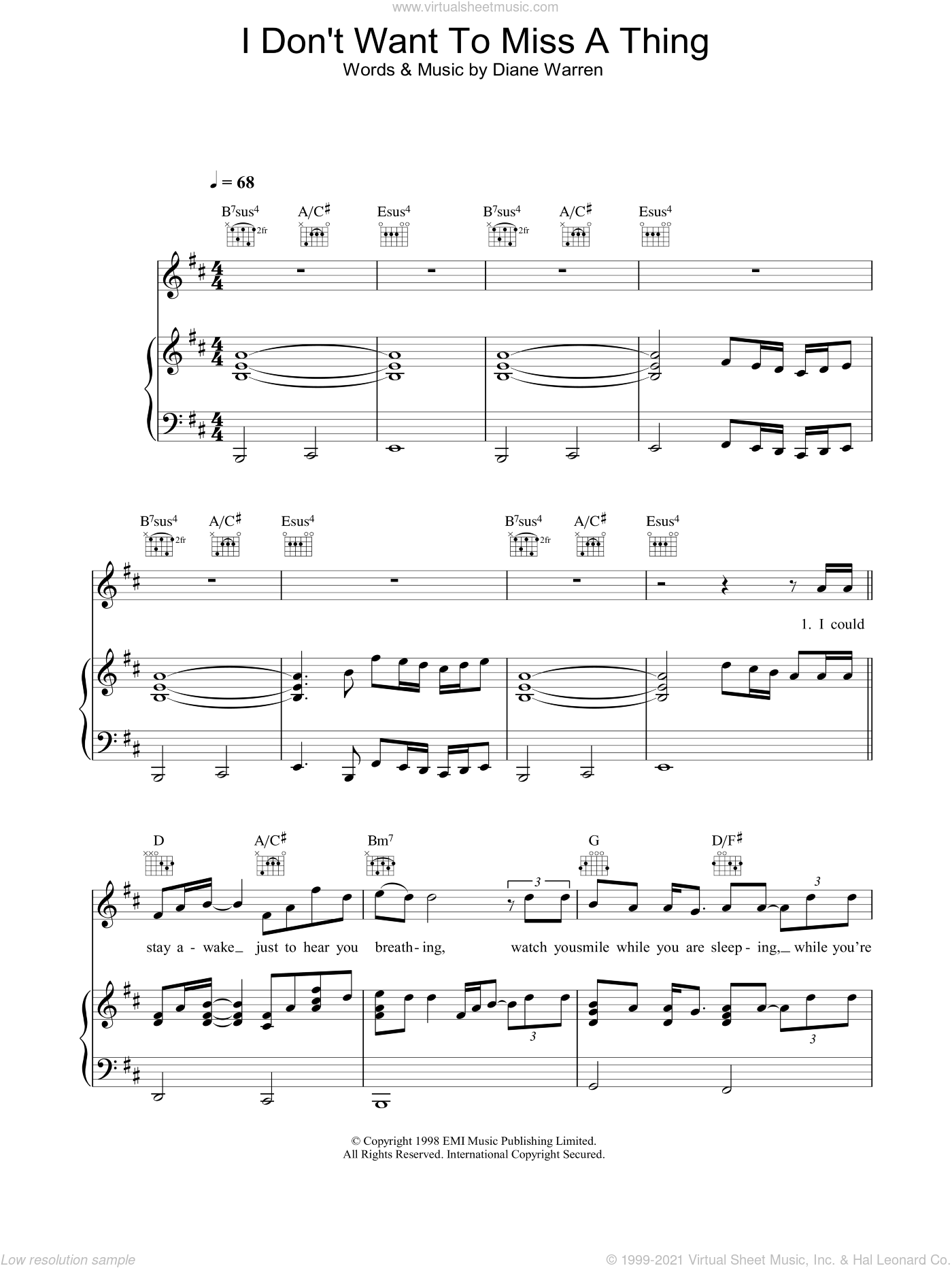 I Don't Want To Miss A Thing sheet music for voice, piano or guitar by Diane Warren and Aerosmith. Score Image Preview.
